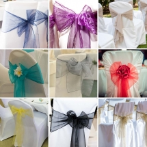 Organza Sash Bow Wedding Chair Covers Bunting Table Linen Hire Norfolk Vintage Partyware Wedding Decorations Props Kings Lynn Norwich