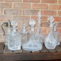 Vases Vessels Hire Norfolk - Crystal Decanters Wedding Drinks - Vintage Partyware