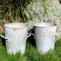 Vases Vessels Hire Norfolk - Galvanised Flower Buckets - Vintage Partyware