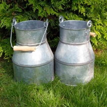 Vases Vessels Hire Norfolk - Galvanised Oil Cans - Vintage Partyware