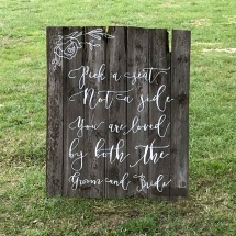 Cottage Door Rustic Pick a Seat not a Side Wedding Sign Hire Wedding Signage Norfolk Vintage Partyware