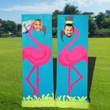 Flamingo Bride Groom Peep Boards Wedding Games Hire Norfolk Vintage Partyware Lawn Games Event Decorations Kings Lynn Norwich