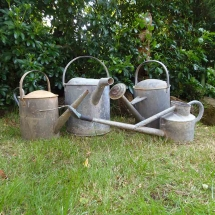 Vases Vessels Hire Norfolk - Galvanised Tin Watering Cans - Vintage Partyware
