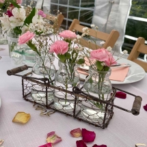 Vases Vessels Hire Norfolk - Glass Milk Bottles in Crate - Vintage Partyware