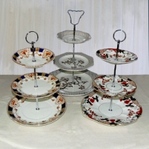 Vintage China Hire Norfolk Three Tier Cake Stand Afternoon Tea Vintage Partyware Wedding Hire