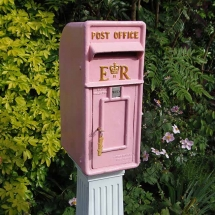 Wedding Post Box Hire Pink Royal Mail Elizabeth II Vintage Partyware Wedding Decoration Hire Norfolk